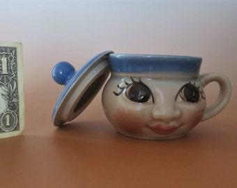 Art Deco Urbach Czechoslovakia Lidded Face Mug Cup RARE