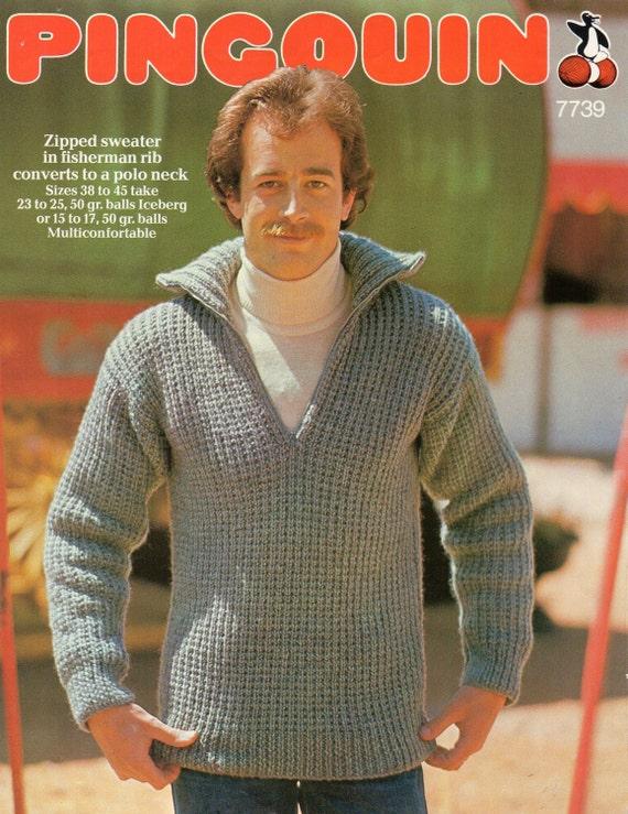 Mens Knitting Pattern Mens Chunky Fishermans Rib Sweater 38 45