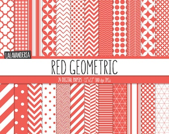 Geometric Digital Paper Package with Red Backgrounds. Printable Papers Set - Red Geometric Patterns. Digital Scrapbook. Instant Download