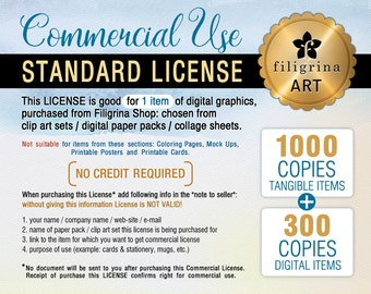 COMMERCIAL LICENSE - Small Business Use up to 1000/tangible + 300/digital copies sold. For 1 listing clip art, digital paper, collage sheets