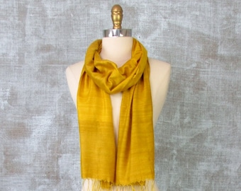 Raw Silk Scarf, Mustard Yellow, Womens Long Silk Scarf