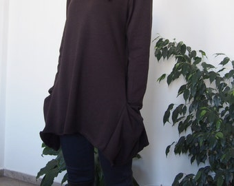 Knitted Over-sized Long Sleevel Cotton Tunic with Pockets & Nara TPL002