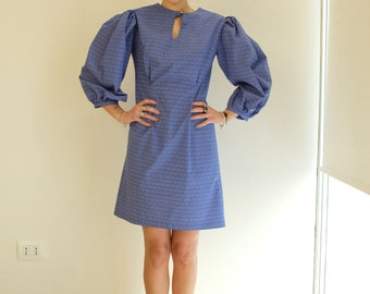 Dress in pure cotton tailoring wide sleeves