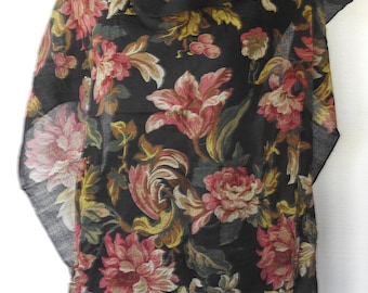 Vintage Scarf 100% Wool ECHO Black Background with Tapestry Flowers in Subtle Shades  Red Tan