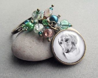 Dachshund Beaded Key Ring, Pet Memorial Gift, Pet Drawing, Pet Gift, Daxon Keychain, Dog Keychain, Dachshund Keychain, Dog Portrait Keychain
