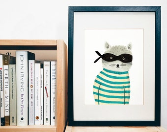 PRINT of original art - Raccoon - handpainted animal character - bandit - kids print - nursery print - print of a gouache painting