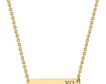 Chi Omega Sorority Bar Necklace / Chi Omega Necklace / Sorority Necklace / Sorority Gift / Big Little Gift / Sorority Jewelry / Chi O