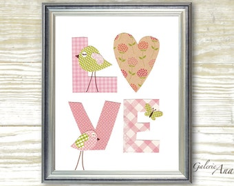 Kids wall art - nursery art prints - nursery wall art - baby nursery art - kids room decor - kids birds - LOVE print