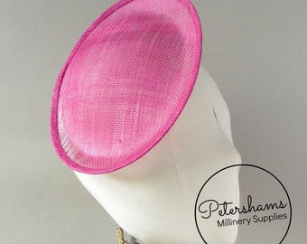 Oval Scallop Sinamay Fascinator Hat Base for Millinery & Hat Making - Cerise Pink