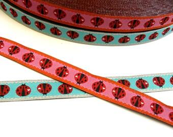 "1 m Woven Ribbon Farbenmix  ""Ladybird candy /sky"" türkis pink 12 mm Design Cherry Picking"
