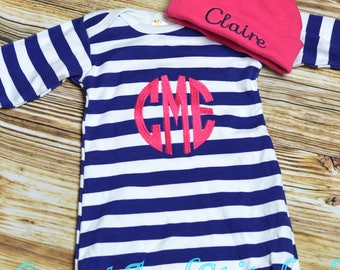 Baby girl monogrammed gown, baby girl take home outfit, monogrammed outfit hot pink and navy layette - Baby girl gift set, baby shower gift