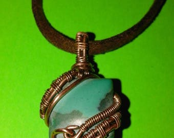 Copper wire wrap pendant necklace with malachite (synthetic)