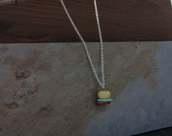 Stacked Stone Necklace//Sterling Silver