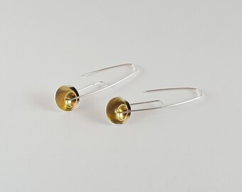 Short sterling silver mixed metal dome earrings