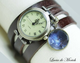 Universe Wrap Watch - Planet watch bracelet- SPACE charm- Black friday  - Cyber monday