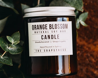 Orange Blossom Natural Soy Candle, Hand poured Candle, Natural Soy Candle
