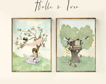 Summer Tree Set, Nursery Wall Art, Nursery Decor, Childrens Art, Kids room decor, Nursery Art, nursery decor girl, nursery girl, wall art