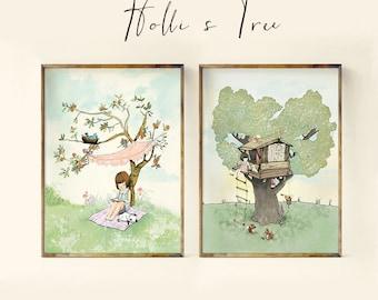 Summer Tree Set - Holli - Nursery Wall Art - Nursery Decor - Childrens Art - Kids Wall Art - Nursery Art