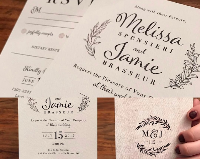 PRINTABLE - Burgundy Rustic Classic Wedding Invites, Simple, Distressed, Textured, Monogram