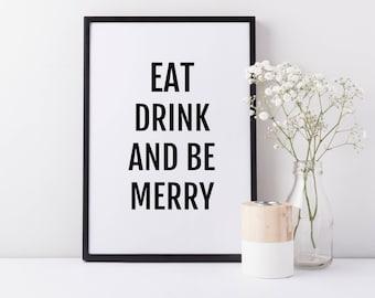 Framed Eat Drink & Be Merry Print | Kitchen Decor | Framed Wall Art | FREE UK SHIPPING |