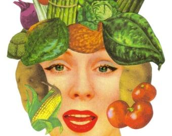 OOAK Mixed Media Artwork, Veggie Art Collage, Vegetable Wall Art, Vegetarian Artwork, Vegan Decor