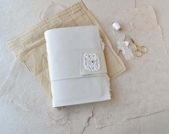 White Leather Journal for Stitchers - Paper and Fabric Pages
