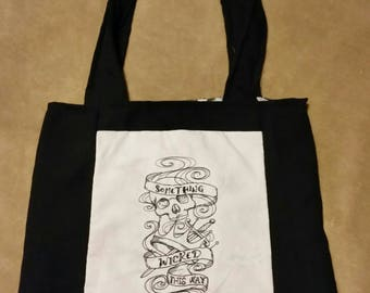 tote bag handmade reversible  embroidered book bag  shopping bag reusable grocery bag craft tote something wicked this way comes Macbeth