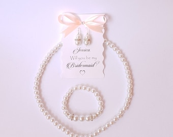 Bridesmaid Jewelry set Bridesmaid Earrings and Bracelet and Necklace set Wedding Jewelry set for Bridesmaids Pearl Bridesmaid Jewelry set