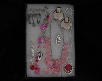 Vintage Jewelry Lot Necklaces Pins Earrings Bracelet #640