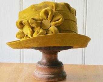 Mustard cloche hat, mustard winter hat, mustard 1920s hat, mustard bucket hat, yellow cloche hat, mustard corduroy hat