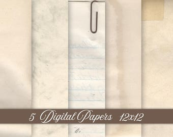 5 Digital Light Worn Papers Bundle INSTANT DOWNLOAD Antique 12x12 Old Vintage Paper - Digital Paper Set - Print Paper JPG