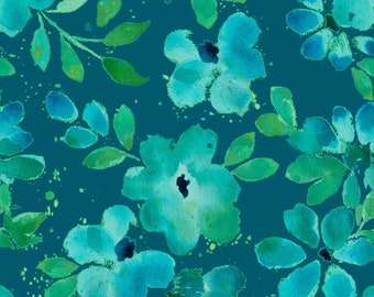 Marcus Bros - Sea Glass Blue Water Floral by Nancy Rink / Teal, Blue, Green Floral