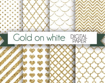 Gold on white Digital Paper Pack / Instant download / 8 Digital Papers - for Crafts, Scrapbooking, Invitationa