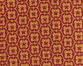 By The HALF YARD - Southcott by Kathy Hall of Winterthur Museum for Andover, #7537-Y Floral Damask Yellow, Red Scrolls on Mustard Yellow