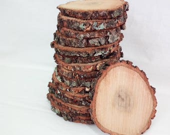 """10 slices of rustic wood Tree Slice of decoration Rustic wedding 4"""" Round wooden disks"""