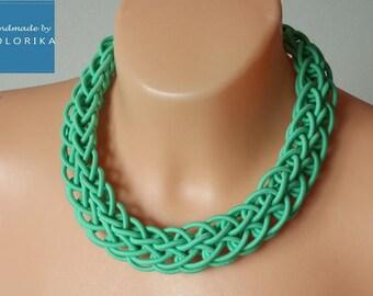 Tribal necklace African necklace mint necklace chunky statement necklace knotted necklace multistrand bib boho chic fiber mint jewelry