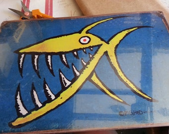 Yellow Fish  metal sign  Approx 12x18 inches rustic  whimsical decor