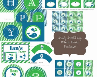 Personalized Printable Whale Birthday Package - LOVELY LITTLE PARTY