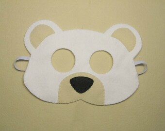 White bear mask handmade ice polar bear for kids teens boys girls adults - soft felt dress up play accessory photo props Theatre roleplay