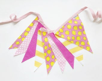 40% off Sale! - Lemonade Pennant Fabric Banner, Bunting, Garland