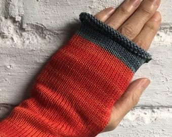 Red Cotton Gloves, Red Fingerless Gloves, Cotton Knit Gloves, Red Vegan Gloves, Vegan Knit Gloves, Red Wristwarmers, Red Fingerless Gloves