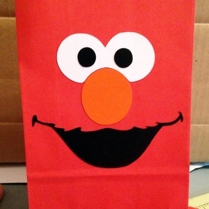 12 Elmo or Cookie Monster good bags, Birthday party favors, Elmo themed party, Sesame Street Treat bags, Cookie Monster party