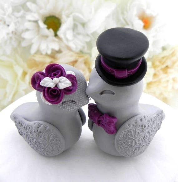 Love Birds Wedding Cake Topper, White, Plum Purple, Black and Grey, Bride and Groom Keepsake, Fully Customizable