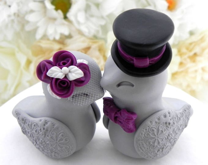 Love Birds Wedding Cake Topper, White, Plum Purple, Black and Grey, Bride and Groom Keepsake, Fully Personalized