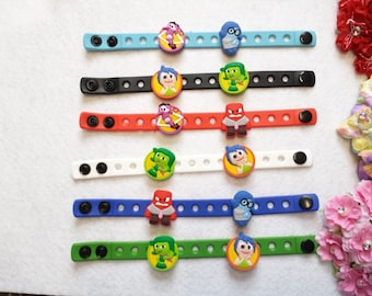 10 Inside Out Silicone Bracelets Party Favors