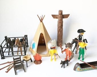 Cowboys and Indians toys Geobra Playskool 1974 Horses Teepee Canoe