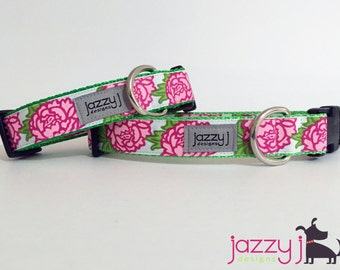 Pink Peonies Flower Dog Collar