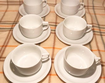 Spotless set of six white Seltmann Weiden pristine cups and saucers! Clean comfort!