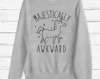 Majestically Awkward Sweater - Unicorn Sweater - Animal Sweater - Fairy - Kitten - Funny Cat Sweater - Humor Sweater - Gift - Birthday