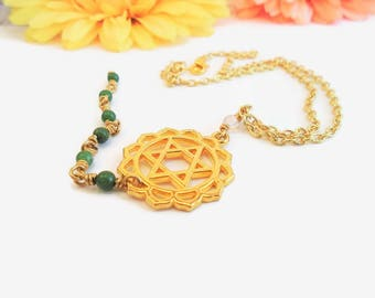 Reiki healing necklace, heart chakra, green aventurine, green and gold Anahata necklace, spiritual symbol, healing crystals and stones
